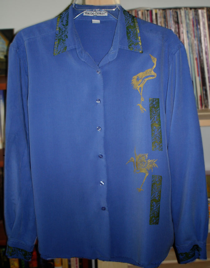 Birds Silkscreen on Polynosic Shirt with Jacquard Lumiere Gold Paint
